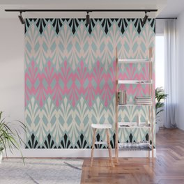 Decorative Plumes - Pink Cream Black on Green Wall Mural