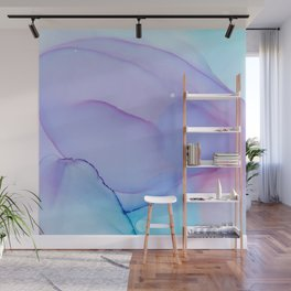 Lilac Essense fluid ink abstract painting Wall Mural