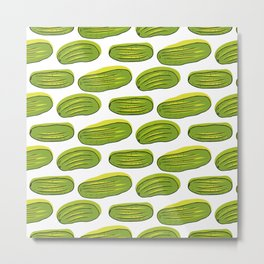 Pattern with green cucumbers Metal Print