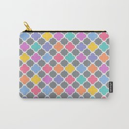 Rainbow & Gray Quatrefoil Carry-All Pouch