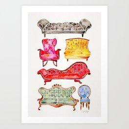 Victorian Lounge – Rainbow Palette Art Print