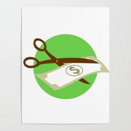 Cutting Dollar Bill With Scissors Retro Poster