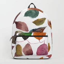 Leaves. Watercolor leaves pattern. Autumn leaves. Backpack