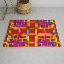 Bright oriental pattern of luminous rainbow squares and curly crosses on a red background Rug