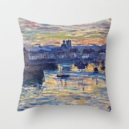 Claude Monet - Port Of Dieppe, Evening Throw Pillow