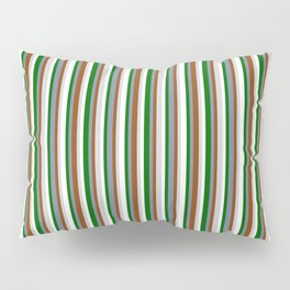 Colorful Dark Green, Light Slate Gray, Brown, Light Gray, and White Colored Stripes Pattern Pillow Sham