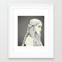 daenerys targaryen Framed Art Prints featuring D T by CranioDsgn