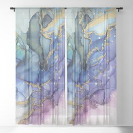 Moody Mermaid Bubbles Abstract Ink Sheer Curtain