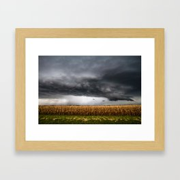 Corn Field - Storm Over Withered Crop in Southern Kansas Framed Art Print