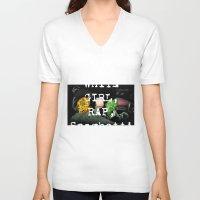 rap V-neck T-shirts featuring white girl rap by john muyargas