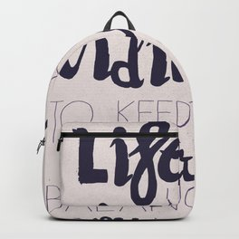 A. Einstein quote on life for motivation inspiration and strenght, typography, illustration, decor Backpack