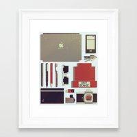 8bit Framed Art Prints featuring 8Bit Handbag by Thecansone