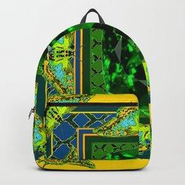 YELLOW  DECORATIVE  GREEN EMERALD GEM & BUTTERFLY ART Backpack