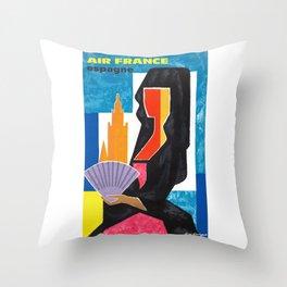 1963 Air France Spain Espagne Travel Poster Throw Pillow