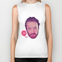 rick grimes Biker Tanks featuring The Walking Dead - Rick Grimes by Mike Wrobel