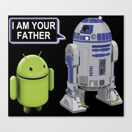R2D2 to Android: I am your father (white letters) Canvas Print