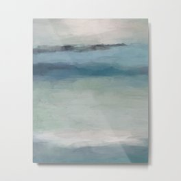Abstract Painting, Light Blue, Teal, Sage Green Prints Modern Wall Art, Affordable Stylish Metal Print