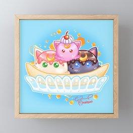 Moon Kitty Banana Split Framed Mini Art Print