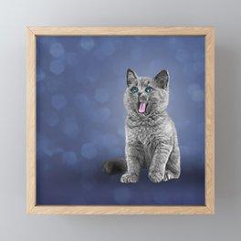 Drawing funny kitten 3 Framed Mini Art Print