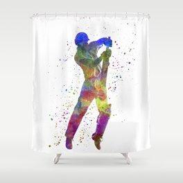 Cricket player batsman silhouette 05 Shower Curtain