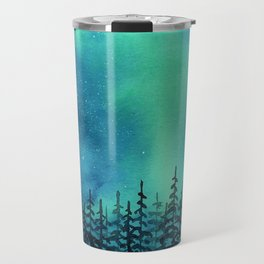 """Wilderness Lights"" Aurora Borealis watercolor landscape painting Travel Mug"