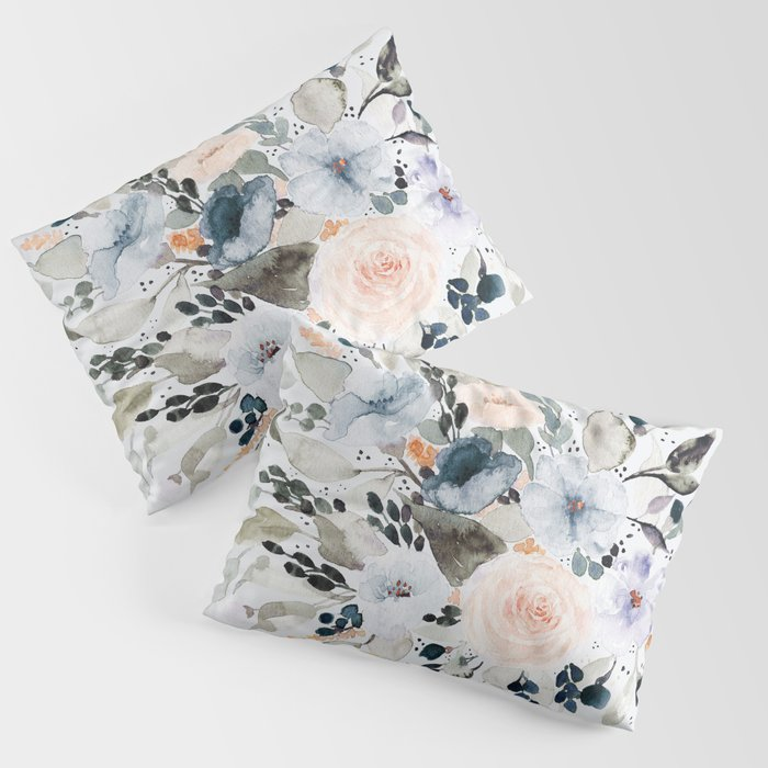 Loose Blue And Peach Floral Watercolor Bouquet Pillow Sham By Shealeenlouise Society6