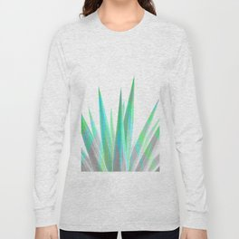Tropical Allure - Green & Grey on White Long Sleeve T-shirt