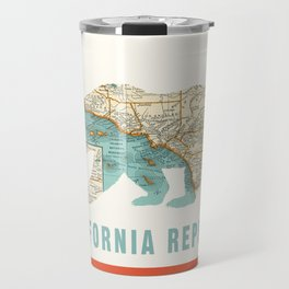 California Bear Flag with Vintage Map Travel Mug