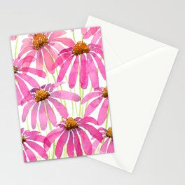 Pink Coneflowers On White - Watercolor Floral  Stationery Cards