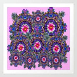 PINK & BLUE #2 PEACOCK MANDALAS WITH  FUCHSIA FLOWER ART Art Print