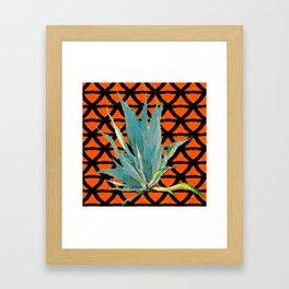 CUMIN ORANGE BLUE DESERT AGAVE CACTI ART Framed Art Print