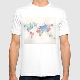 Watercolour world map T-shirt
