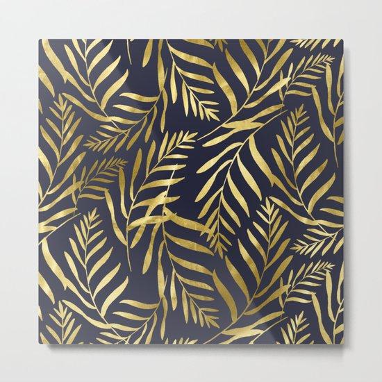 Gold Leaves on Navy Metal Print