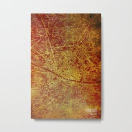 Firenze old map, Florence antique Metal Print