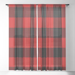 Red Lumberjack Pattern Sheer Curtain