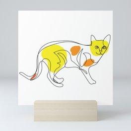 One Line Cat Mini Art Print