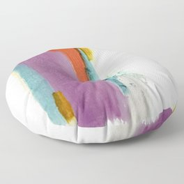 Aly: a colorful, minimal, abstract piece in bold purple, blue, orange, and yellow Floor Pillow
