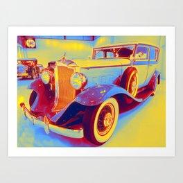 1932 Packard 900 2 gradient neon coloring by Ahmet Asar, Asar Studios Art Print