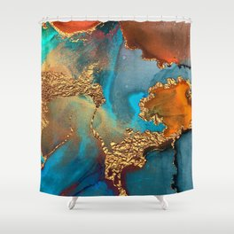 Abstract Blue And Gold Autumn Marble Shower Curtain