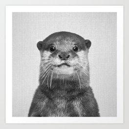 Otter - Black & White Art Print