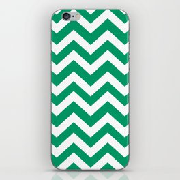 Green-cyan - green color - Zigzag Chevron Pattern iPhone Skin