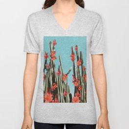 Cacti Orange coral flowers Unisex V-Neck