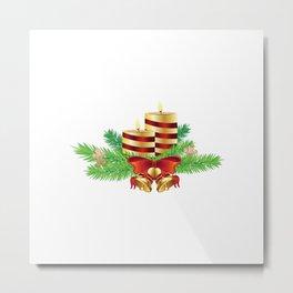 Decorative Christmas Candle Metal Print