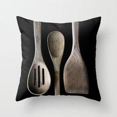 Wooden Kitchen Utensils Throw Pillow