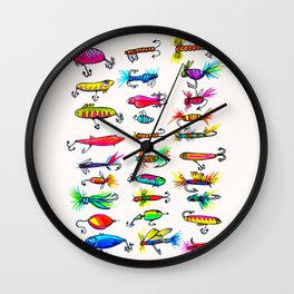 All the Fishing Lures - Illustration Wall Clock