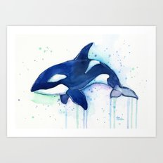 Killer Whale Orca Watercolor Painting Animal Art Art Print