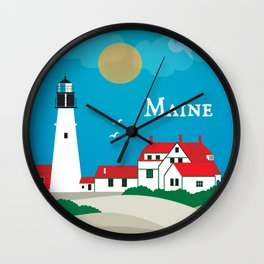 Maine - Skyline Illustration by Loose Petals Wall Clock
