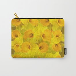 Olive Colored Golden Daffodile Floral Abundance Carry-All Pouch