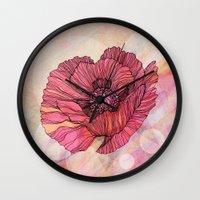 poppy Wall Clocks featuring Poppy by Annike