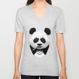 Panda in Black Unisex V-Neck